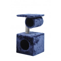 58cm Two Level Cat Tree House With Nest and Tunnel Blue