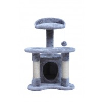 67CM Three Level Cat Tree House With Nest Gray