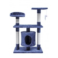 90CM Three Level Cat Tree House With Nest Blue