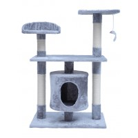 90CM Three Level Cat Tree House With Nest Gray
