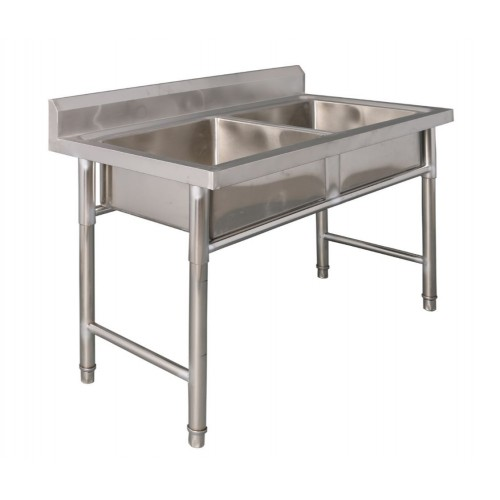 stainless steel commercial kitchen double sink