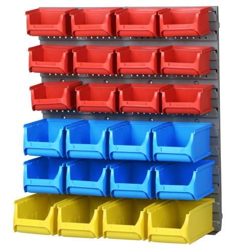25 pcs wall mounted storage bin rack. Black Bedroom Furniture Sets. Home Design Ideas