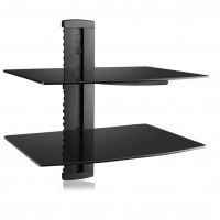 Black DVD DVR VCR Wall Mount Bracket Component 2 Tier Shelf