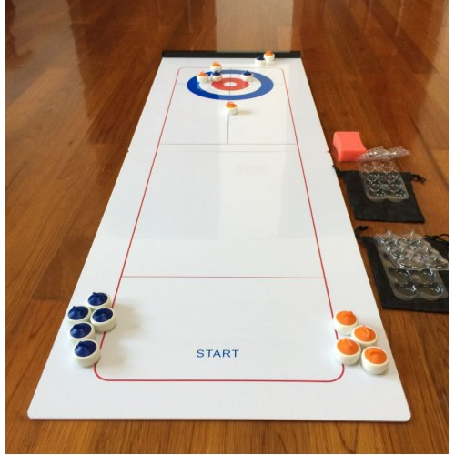 Tabletop curling game set for 10 games in 1 table