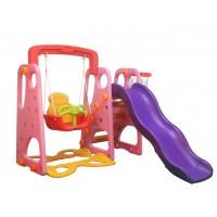 Indoor Outdoor Kid's Slide Swing Set Pink
