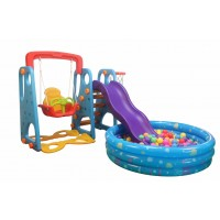 Blue Indoor  Outdoor Kid's Slide Swing Set with Ball Pool and 200 Balls