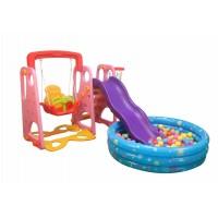 Pink Indoor  Outdoor Kid's Slide Swing Set with Ball Pool and 200 Balls