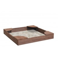 Dark Brown Wooden Sandpit with Corner Seats