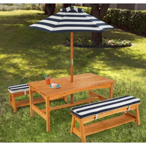 Wood Outdoor Picnic Table and Bench Seat with Umbrella