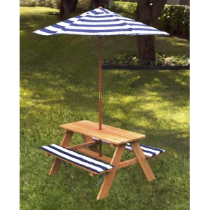 Wood Outdoor Picnic Table with Fixed Bench Seat and Umbrella