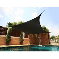 5m x 5m Square All Season Sun Shade Sail Black