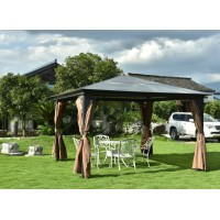 3.6 x 3.6 m Polycarbonate Garden Gazebo Canopy with Sun Shade