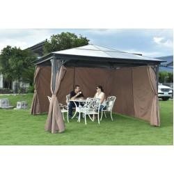 3.6 x 3.6 m Polycarbonate Garden Gazebo Canopy with Sun Shade