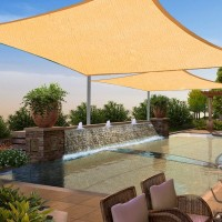 4m x 6m Rectangle All Season Sun Shade Sail Sand