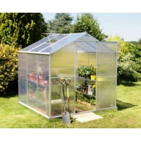 6x6 Garden Aluminum Greenhouse with Sliding Door