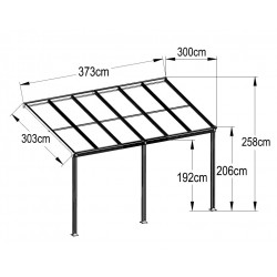 Aluminum Patio Canopy 373(L) X 300(W)