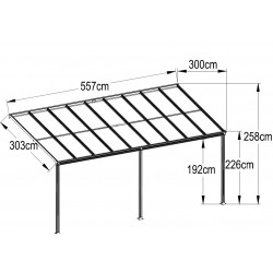 Aluminum Patio Canopy 557(L) X 300(W)