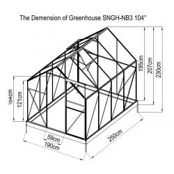 8x6 Garden Nursery Aluminum Greenhouse with Sliding Door