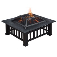 Outdoor Fire Pit BBQ Table With Grill