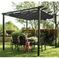2.8 x 2.8 M Aluminum Garden Pergola with Retractable Canopy
