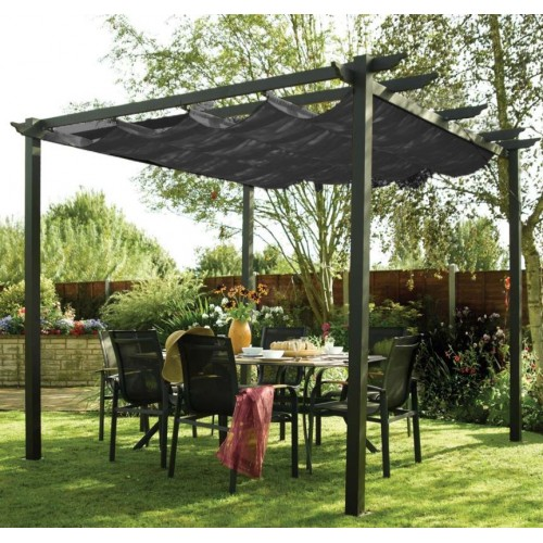 2 8 x 2 8 m aluminum garden pergola with retractable canopy. Black Bedroom Furniture Sets. Home Design Ideas