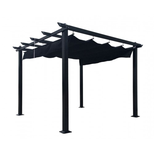 free standing aluminum pavillon garden pergola with retractable fabric 3 x 3 m. Black Bedroom Furniture Sets. Home Design Ideas