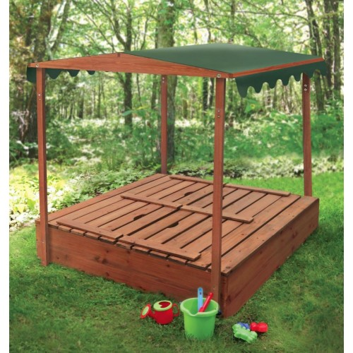 Wooden Sandpit With Bench Seats And Sun Shade