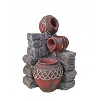 3 Red Pottery Outdoor Water Feature with Solar Pump