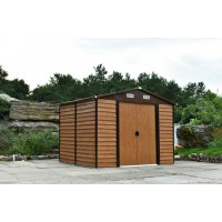 Wood Grain Color Steel Garden Shed 2.3 x 2.3 x 2.0M