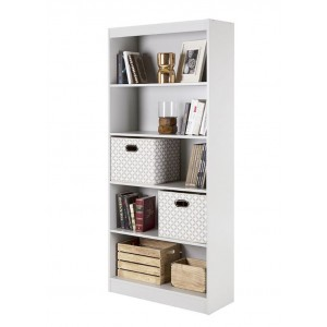 5 Tier Book Magazine CD Shelf White