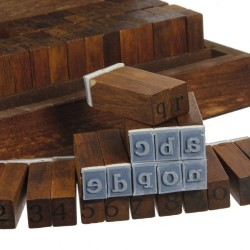 70pc Wooden Box Number Alphabet Letter Wood Rubber Stamp