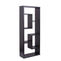 Wooden Asymmetrical Cube Bookcase - Black
