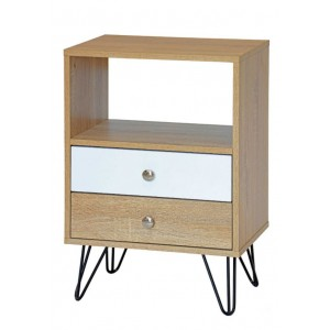2 Drawer Wooden Beside Table with Hairpin Legs