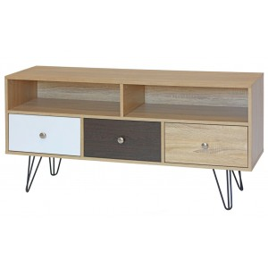 3 Drawer Wooden TV Unit Stand with Hairpin Legs