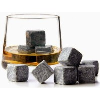 Set of 9 Grey Whisky Chilling Rocks with Carrying Bag