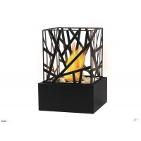 Square Bio Ethanol Fireplace with Decorative Stones