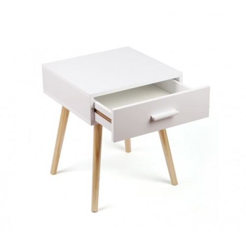 Wooden Leg Bedside Table White