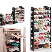 10-Shelf Shoe Rack with Cover