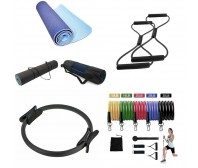 Pilates Ring Yoga Mat & Resistance Bands Bundle